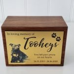 Wooden urn with gold photo plaque