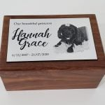 Small wooden urn with photo plaque
