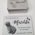 Small laser engraved urn and extra plaque